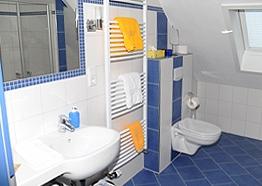 Badezimmer des Inselappartements - Hotel Friesenhuus in Greetsiel